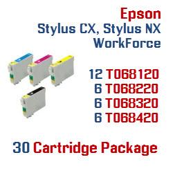30 Cartridge Package Epson Stylus CX, Stylus NX, WorkForce Compatible Ink Cartridges