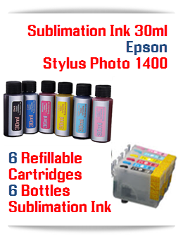 Sublimation Ink Refillable Cartridges, Epson Stylus Photo 1400