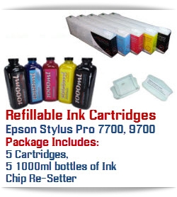 Refillable Epson Stylus Pro 7700/9700 Printer Ink Cartridges