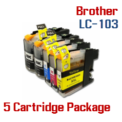 Brother LC-103 5 Cartridge Package Compatible Printer Ink Cartridges