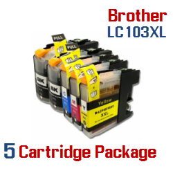 5-Cartridge Package Brother LC-103XL Cartridges