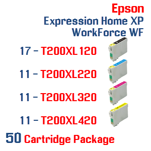 50 Cartridges- 17-T200XL120 Black,  11-T200XL220 Cyan, 11-T200XL320 Magenta, 11-T200XL420 Yellow Compatible Pigment Ink Cartridges