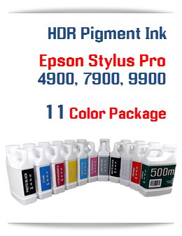 11 Color Package - Epson Stylus Pro 7900/9900 HDR Compatible Pigment Ink colors 500ml includes: All 11 Colors