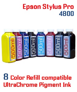 8 Bottle Refill Ink Package 500ml