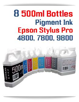 8 Bottle package Pigment Ink Epson Stylus Pro Printers 500ml bottles