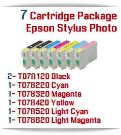 7 Cartridge Package T078 Epson Stylus Photo High-Capacity Compatible Printer Ink Cartridges