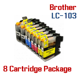 Brother LC-103 8 Cartridge Package Compatible Printer Ink Cartridges