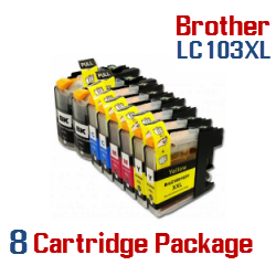 Brother LC-103XL 8 Cartridge Package Compatible Printer Ink Cartridges