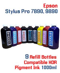 9 Color Refill Pigment Ink Epson Stylus Pro 7890, 9890 Printers