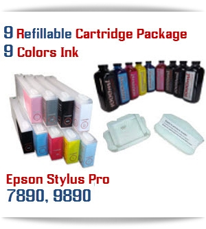 9 Refillable Cartridge Package Epson Stylus Pro 7890-9890