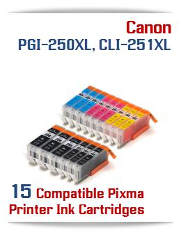 15- Includes: 3- PGI-250XLBK Black, 3- CLI-251XLBK Black, 3- CLI-251XLC Cyan, 3- CLI-251XLM Magenta, 3- CLI-251XLY Yellow Compatible Canon Pixma printer ink tanks