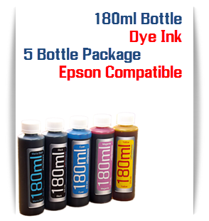 5 Color Package Dye Ink 180ml bottles