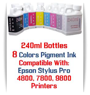 8- 240ml Bottles Pigment Ink
