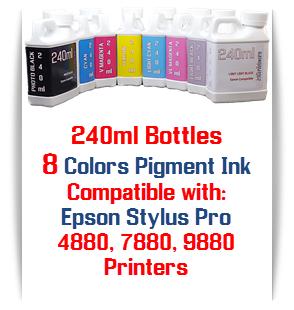 8 240ml Bottles Pigment Ink Package, Epson Stylus Pro 4880, 7880, 9880 printers