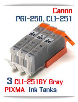 3- Includes: 3- CLI-251XLGY Compatible Canon Pixma printer ink tanks