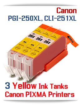 3 Yellow CLI-251XLY Canon Pixma ink tanks