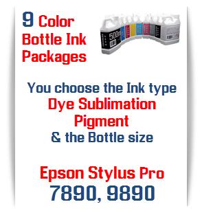 9 Bottles of printer ink Epson Stylus Pro 7890, 9890