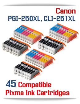 45- Includes: 9- PGI-250XLBK Black, 9- CLI-251XLBK Black, 9- CLI-251XLC Cyan, 9- CLI-251XLM Magenta, 9- CLI-251XLY Yellow Compatible Canon Pixma printer ink tanks