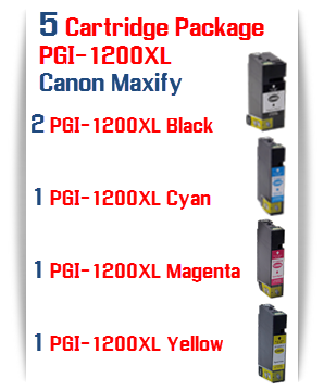 5 Cartridge Package - PGI-1200XL Compatible Ink Cartridge Canon Maxify MB2020, MB2320