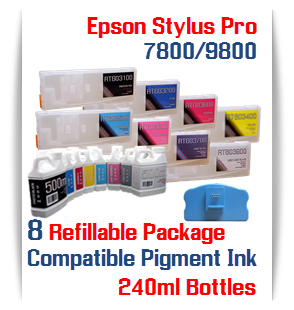 8 Refillable Package Epson Stylus Pro 7800, 9800