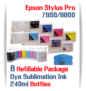 Epson Stylus Pro 7800, 9800 8 Cartridge with 8 240ml bottles of Sublimation ink , Chip Re-Setter