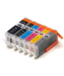 6 Ink Tank Package 1- PGI-250XLBK Black, 1- CLI-251XLBK Black, 1-Cyan, 1- Magenta, 1- Yellow, 1- Gray