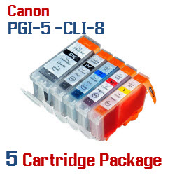 5 cartridge package - Includes: 1- PGI-5BK Black, 1- CLI-8BK Black, 1- CLI-8C Cyan, 1- CLI-8M Magenta, 1- CLI-8Y Yellow Compatible Canon Pixma printer ink cartridges