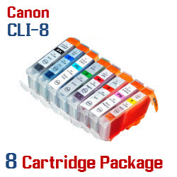 8 Cartridge Package - CLI-8 Compatible Canon Pixma Ink Cartridges