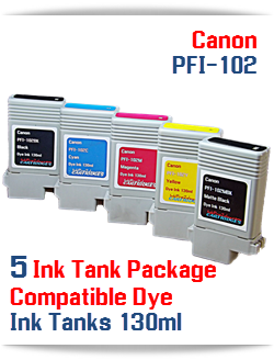 5 Ink Tank Package PFI-102 Canon Compatible Dye Ink Tank 130ml