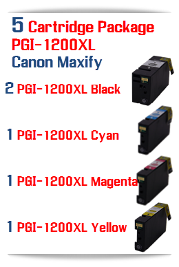 5 Ink Cartridges PGI-1200XL Compatible Pigment Ink Cartridge Canon Maxify MB2020, MB2320 printers