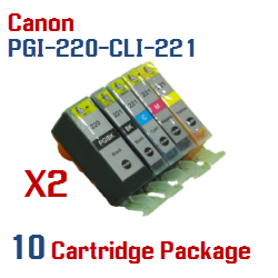 10- Includes: 2- PGI-220BK Black, 2- CLI-221BK Black, 2- CLI-221C Cyan, 2- CLI-221M Magenta, 2- CLI-221Y Yellow Compatible Canon Pixma printer ink cartridges