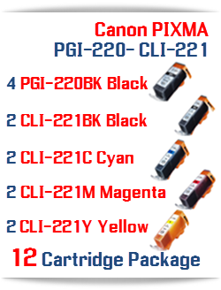 12 Cartridge Package PGI-220, CLI-221 Canon Compatible ink cartridges