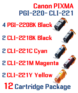 12- Includes: 4- PGI-220BK Black, 2- CLI-221BK Black, 2- CLI-221C Cyan, 2- CLI-221M Magenta, 2- CLI-221Y Yellow Compatible Canon Pixma printer ink cartridges
