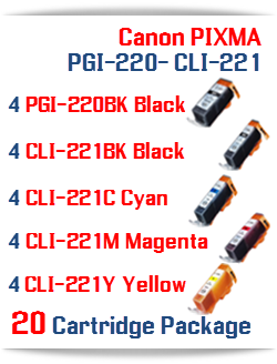 20- Includes: 4- PGI-220BK Black, 4- CLI-221BK Black, 4- CLI-221C Cyan, 4- CLI-221M Magenta, 4- CLI-221Y Yellow Compatible Canon Pixma printer ink cartridges