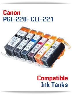 PGI-220BK Black, CLI-221BK Black, CLI-221C Cyan, CLI-221M Magenta, CLI-221Y Yellow Compatible Canon ink cartridges