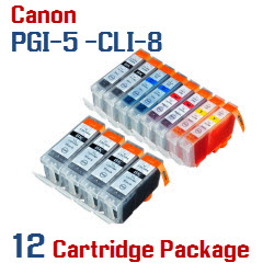 12 - Includes: 4- PGI-5BK Black, 2- CLI-8BK Black, 2- CLI-8C Cyan, 2- CLI-8M Magenta, 2- CLI-8Y Yellow Compatible Canon Pixma printer ink cartridges