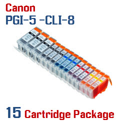 15 Cartridge Package - PGI-5 - CLI-8 Compatible Canon Pixma Ink Cartridges