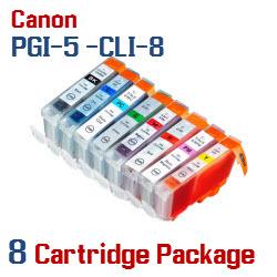 8 Cartridge Package - PGI-5 - CLI-8 Compatible Canon Pixma Ink Cartridges