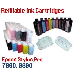 9 Refillable Cartridge Package Epson Stylus Pro 7890, 9890 printers