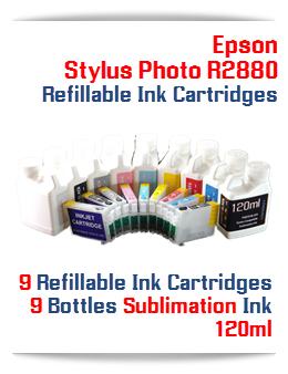 9 Refillable Ink Cartridges 9 Bottles Sublimation Ink 120ml