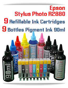 Refillable Ink Cartridge Package Epson Stylus Photo R2880 Printer