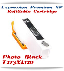 Refillable T273XL120 Photo Black Epson Expression Premium XP Printer ink cartridge