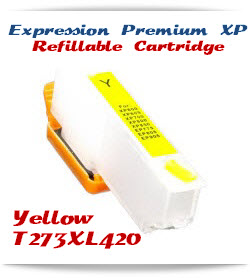 Refillable T273XL420 Yellow Epson Expression Premium XP Printer ink cartridge