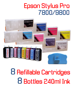 Epson Stylus Pro 7800/9800 Refillable Ink Cartridge Package