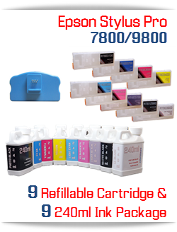 9 Refillable Cartridges, 240ml Ink Epson Stylus Pro 7800/9800