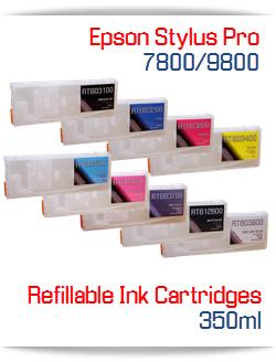 Refillable ink Cartridges Epson Stylus Pro 7800, 9800 printers