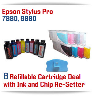 8 Refillable cartridge package with Ink, Chip Re-setter, and funnels