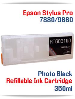 Photo Black Epson Stylus Pro 7880, 9880 Printer Refillable Ink Cartridge