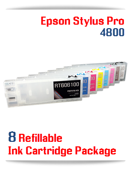 8 Refillable Ink Cartridges Epson Stylus Pro 4800 Printer