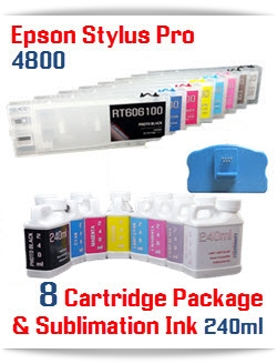 8 Refillable Cartridges, 8 Bottles of Sublimation Ink - Epson Stylus Pro 4800 Printer